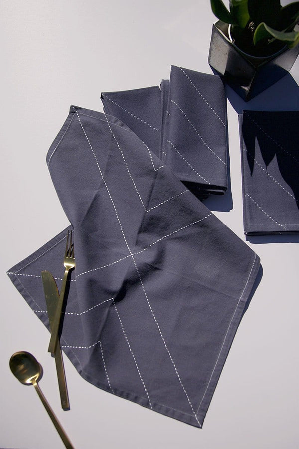 Organic Cotton Arrow Napkin in Slate - Set of 2