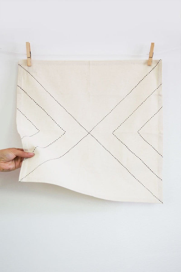 Organic Cotton Arrow Napkin in Bone - Set of 2