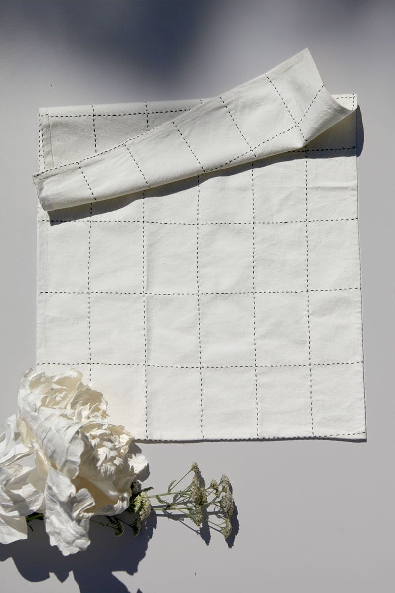 Organic Cotton Grid Stitch Tea Towel