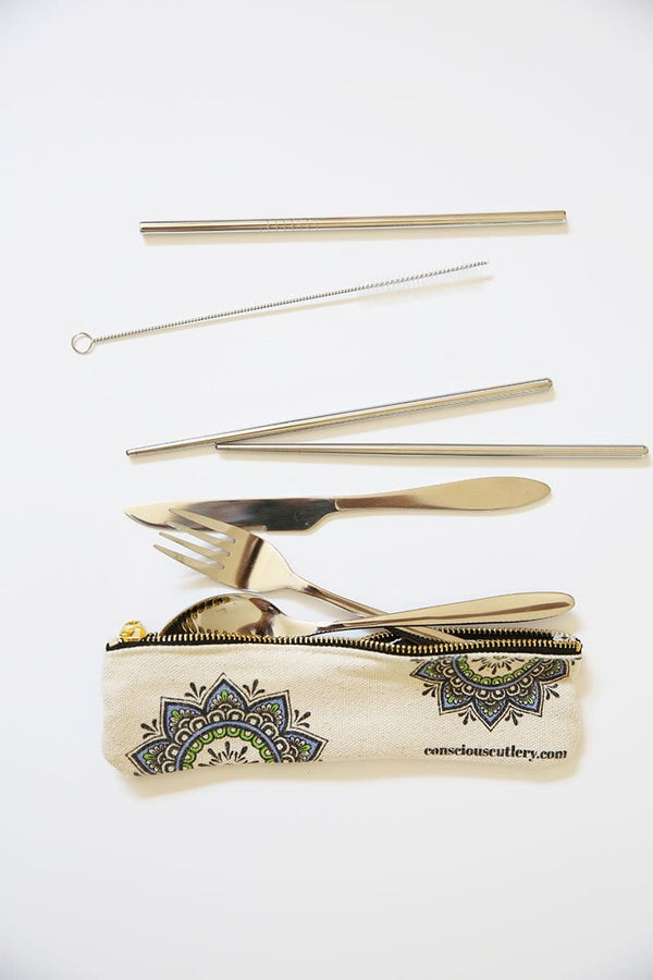 Travel Cutlery Set w/Hemp Pouch