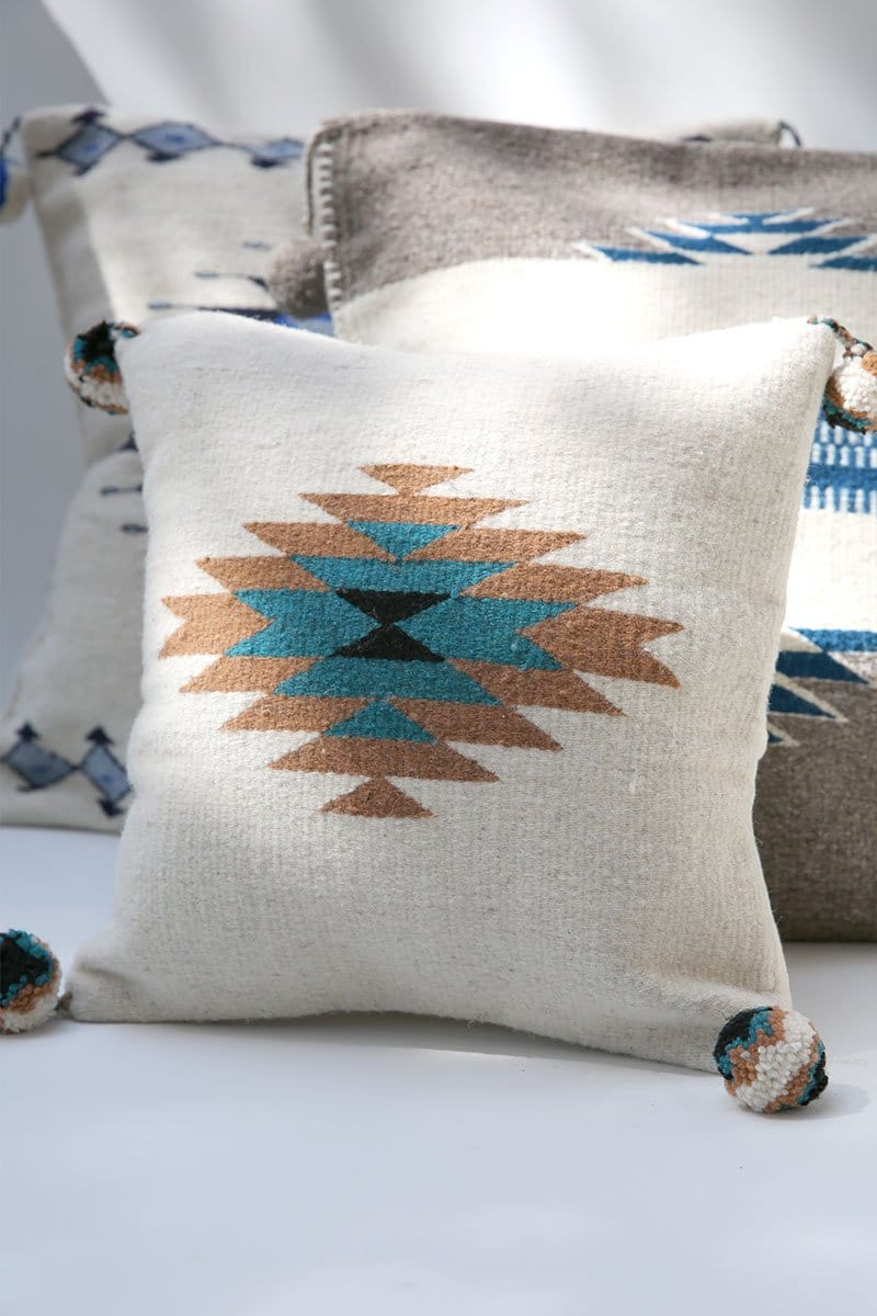 Diamond Tan Wool Pillow Cover