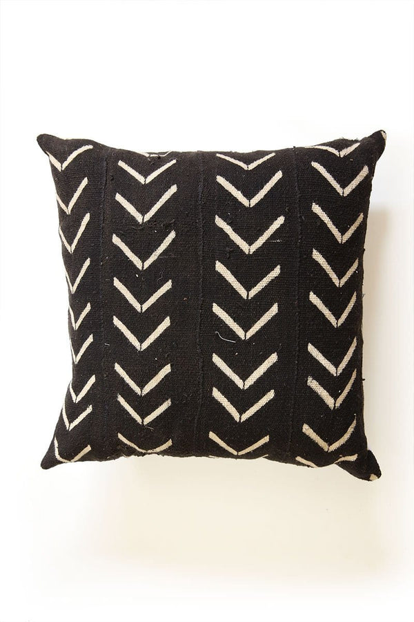 Black Azibo African Mud Cloth Pillow Cover