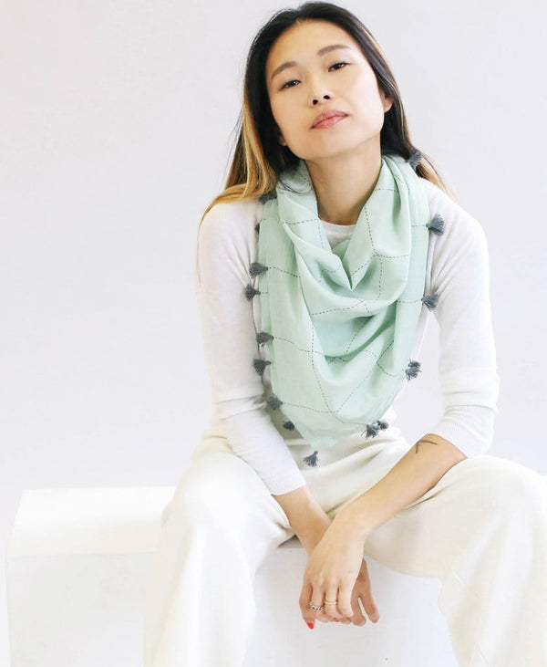 Mint Grid Square Scarf