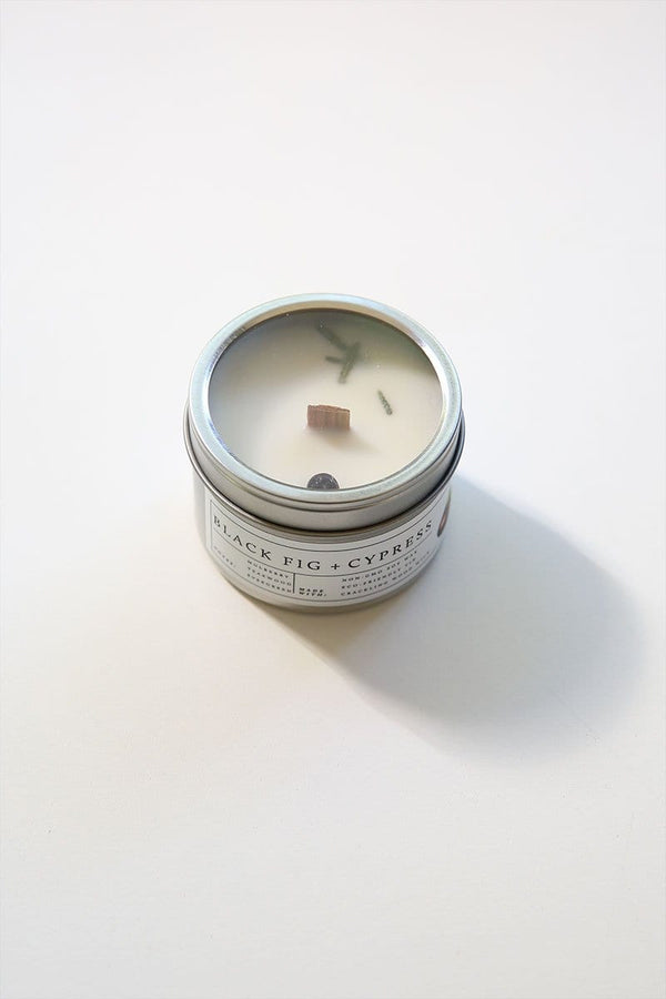 Wooden Wick Candle (Black Fig + Cypress)