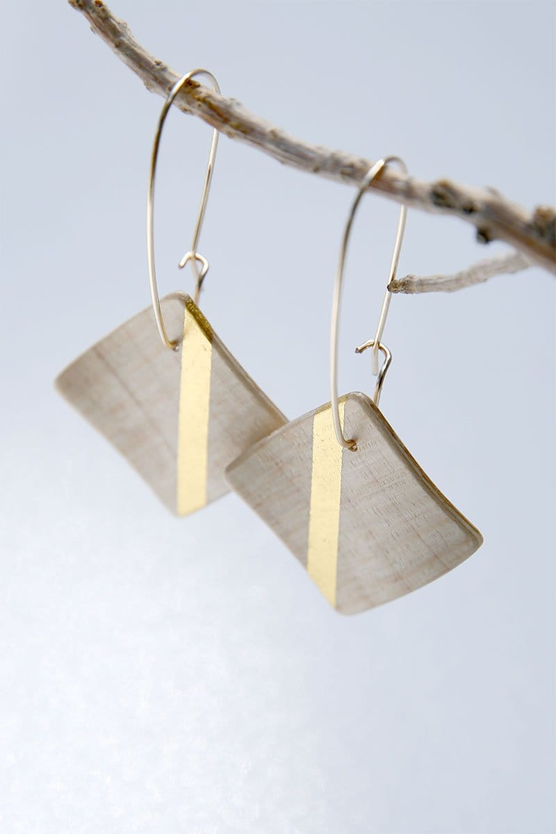 White Sycamore 24k Gold Square Wooden Earrings