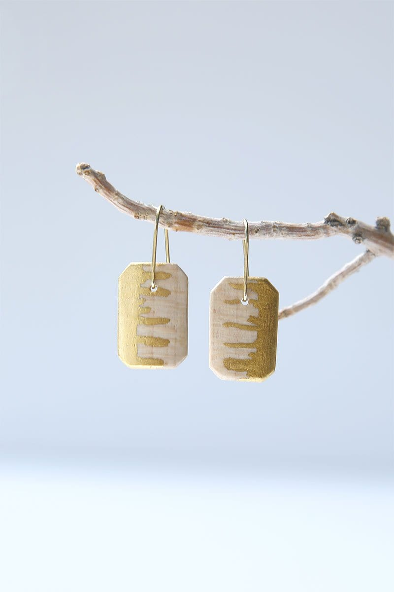 Tiny Sycamore And 24k Gold Square Earrings