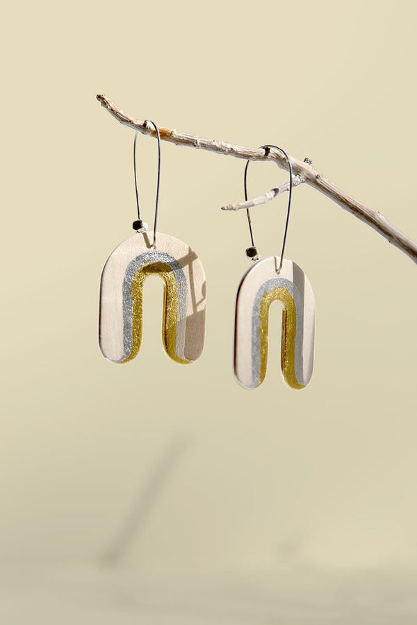 Rainbow Sycamore Wood 24k Gold And Silver U-shaped Earrings