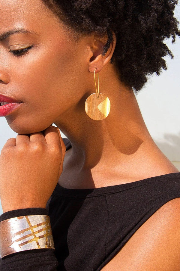 Walnut Wood And 24k Gold Geometric Circle Earrings