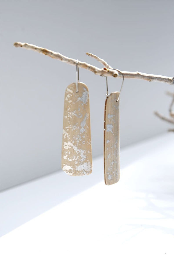 Maple Wood And Pure Silver Flakes Long Earrings