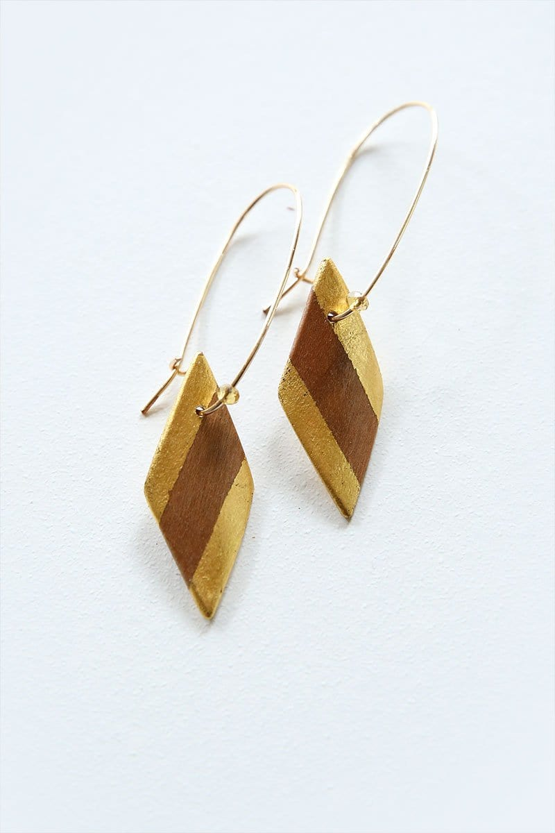 Cherry And 24k Gold-Edged Diamond Shaped Earrings