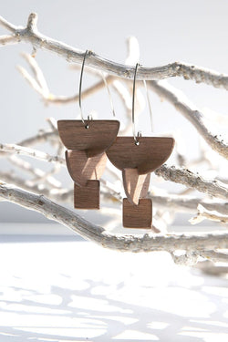 Totem Wood Stacked Shapes Earring