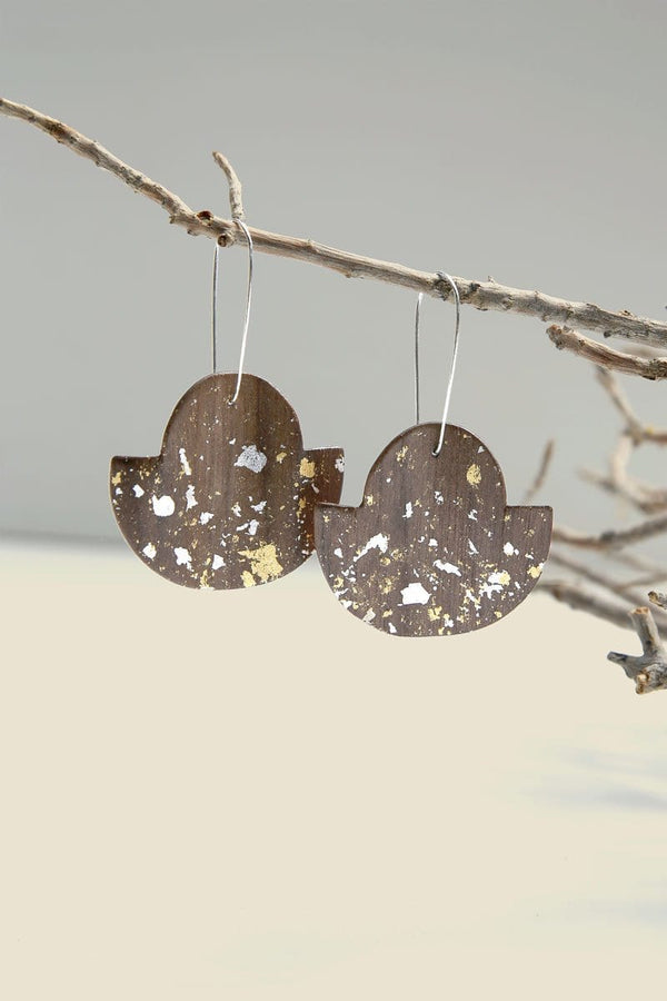 Walnut Wood With Silver And 24k Gold Flakes Wavy Fan Earring