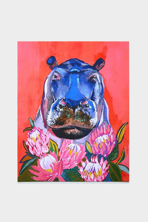 Hippo and Proteas Print