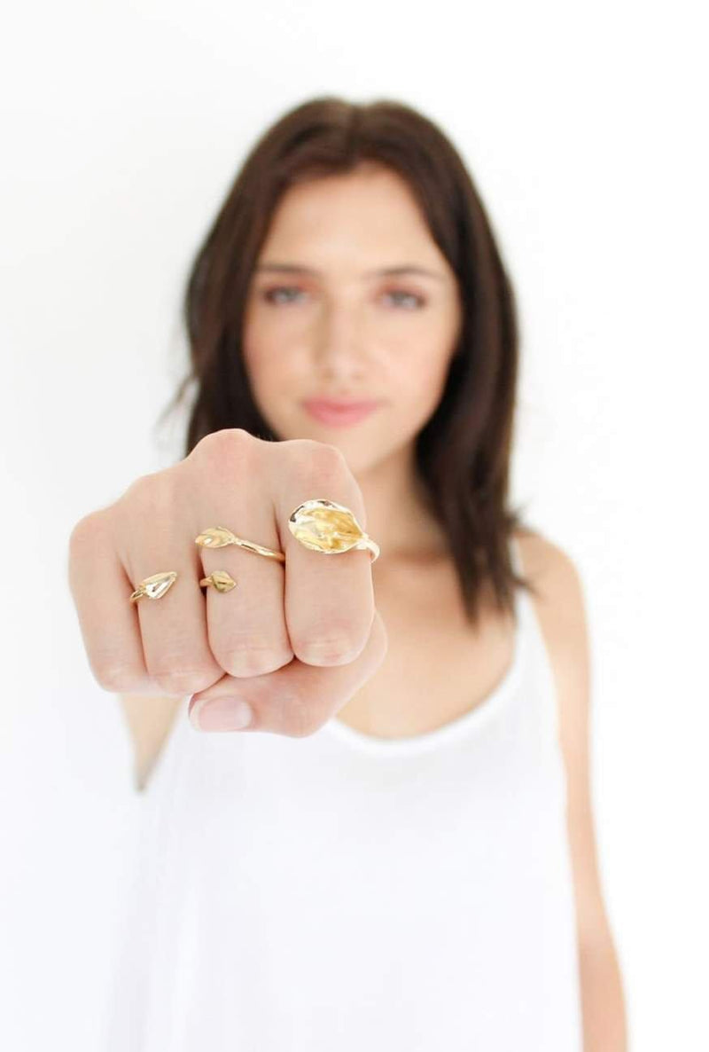In Bloom Lily 3 Finger Ring