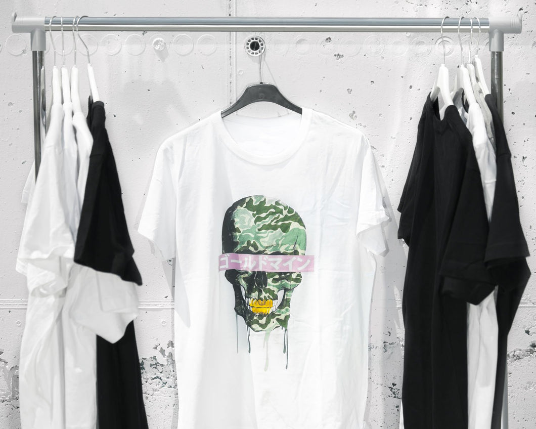 Green skull T-shirt white