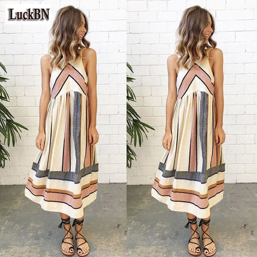 Striped Patchwork Women's Summer Dress