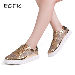 Shiny Designer Gold Sneakers (Also in Silver & Black)