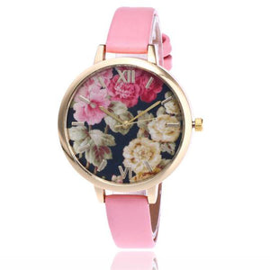 Fashion Floral Flower Watch - Pink