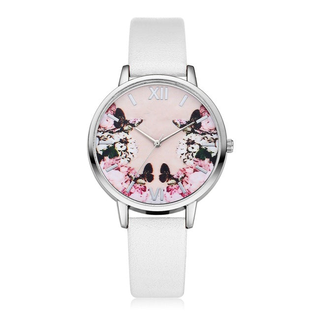 New Floral Silver Flower Watch - White Strap