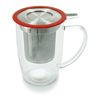 Tall Glass Infuser Cup - Red