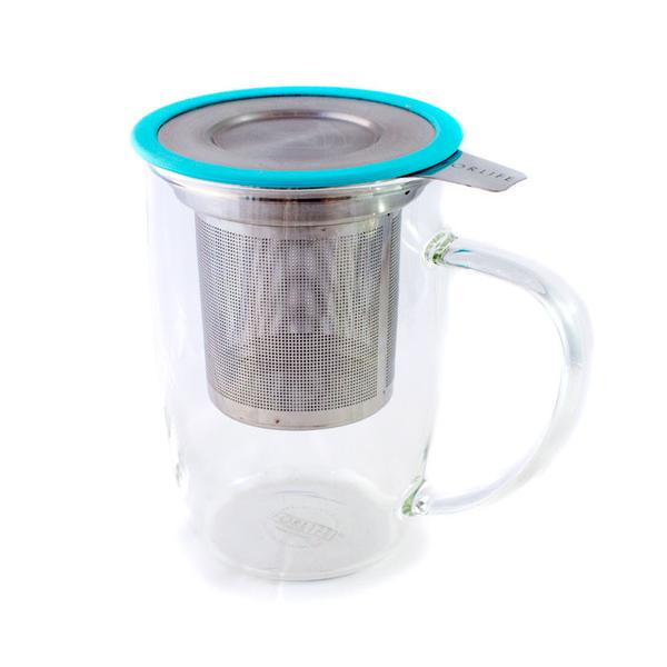 Tall Glass Infuser Cup - Turquoise