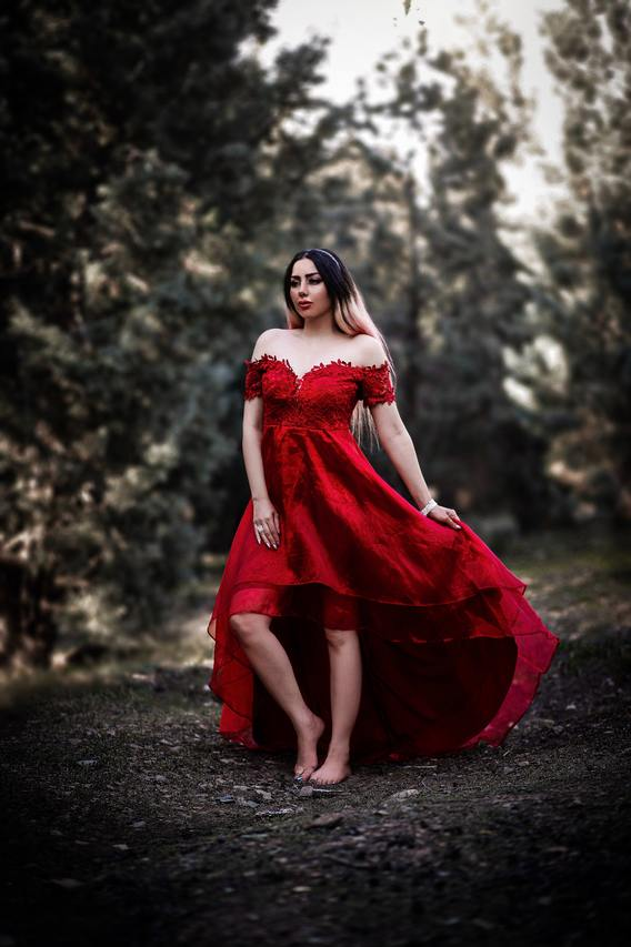 Tee mode red wedding dress