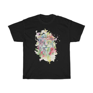 Colorful Lion With Flower Unisex Heavy Cotton Tee - desseni