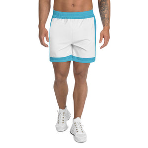 Blue And White Men's Athletic Long Shorts - desseni