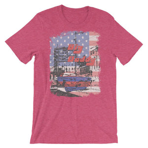 American Flag and Vintage Car  Unisex T-Shirt