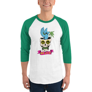 Peace men's 3/4 sleeve raglan shirt