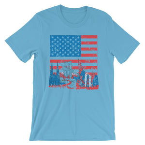 New York In American Flag Unisex T-Shirt - desseni