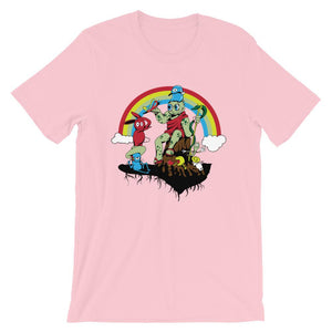 Red Bunny and Friends with Rainbow Unisex T-Shirt - desseni