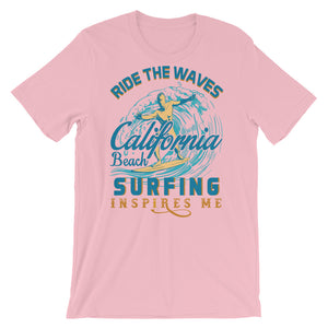 California Beach Surfing  Unisex T-Shirt - desseni