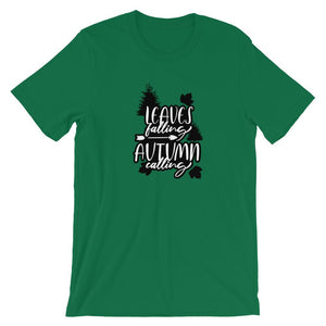 Leaves Falling Autumn Calling Unisex T-Shirt - desseni