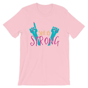 She Is Strong Pink T-Shirt– Shop for She Is Strong Unisex T-Shirts Online – Desseni