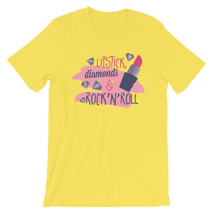 Lipstick Diamonds & Rock N Roll Unisex Desseni T-Shirt
