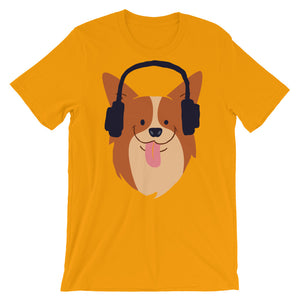 Cute Corgi is Listening The Music Unisex T-Shirt