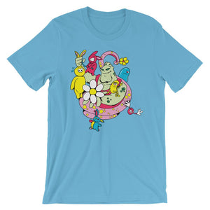 Green Monster And Yellow Bunny Unisex Artistic T-Shirt– Shop for Green Monster And Yellow Bunny Unisex Artistic Unisex T-Shirts Online – Desseni