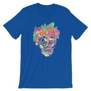 Colorful Skull With Flower Unisex T-Shirt - desseni