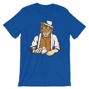 Card Player Tiger Unisex T-Shirt - desseni
