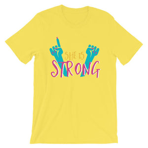 She Is Strong Yellow T-Shirt– Shop for She Is Strong Unisex T-Shirts Online – Desseni