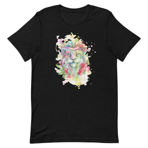 Colorful Lion With Flower Unisex T-Shirt - desseni