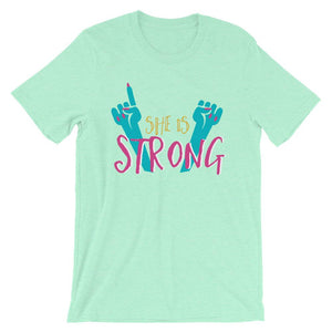 She Is Strong Mint T-Shirt– Shop for She Is Strong Unisex T-Shirts Online – Desseni