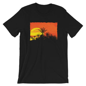 Palm Trees at Sunset Unisex Desseni T-Shirt