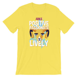 Aries Positive Passionate Lively Yellow T-Shirt– Shop for Aries Positive Passionate Lively Unisex T-Shirts Online – Desseni