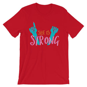 She Is Strong Red T-Shirt– Shop for She Is Strong Unisex T-Shirts Online – Desseni