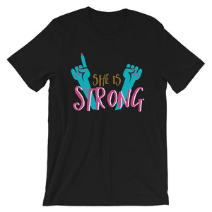 She Is Strong Black T-Shirt– Shop for She Is Strong Unisex T-Shirts Online – Desseni