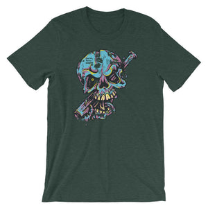 Skull With Baseball Bat Unisex T-Shirt - desseni