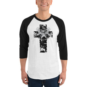 Cross And Skull Men's 3/4 Sleeve Raglan shirt