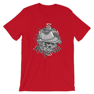 Skull With Cowboy Hat Unisex T-Shirt - desseni